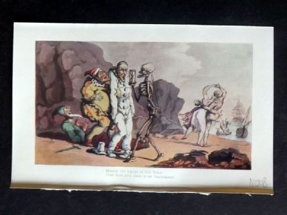 Rowlandson Dance of Death 1903 Antique Print. Behold the signal of Old time